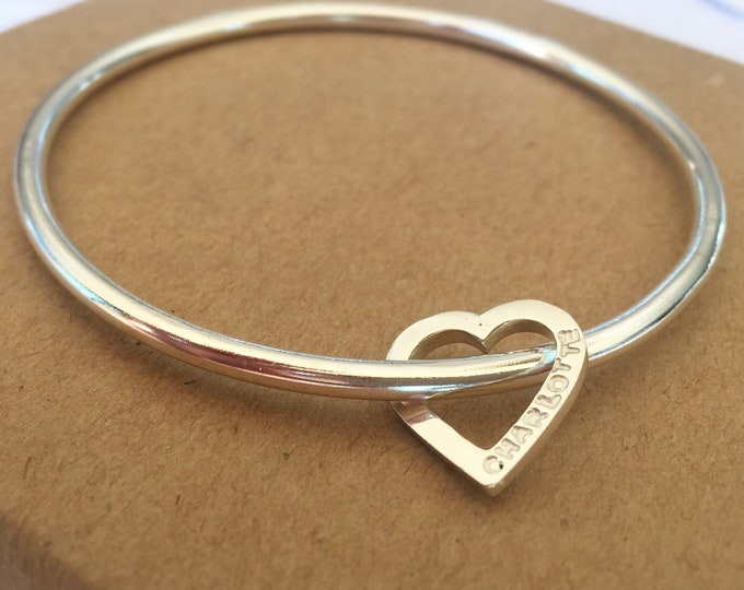Silver bangle with personalised name heart handmade bangle