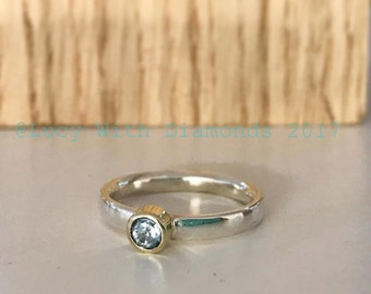 Sterling silver stacking ring with Aquamarine set in 9ct yellow gold March birthstone