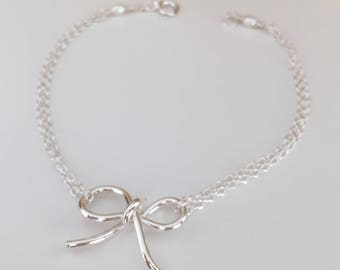 Bow bracelet in sterling silver bridesmaid gift tie the knot