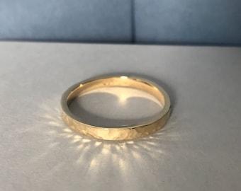 Yellow Gold Hammered Finish Wedding Ring 9ct Yellow Gold 18ct Yellow Gold