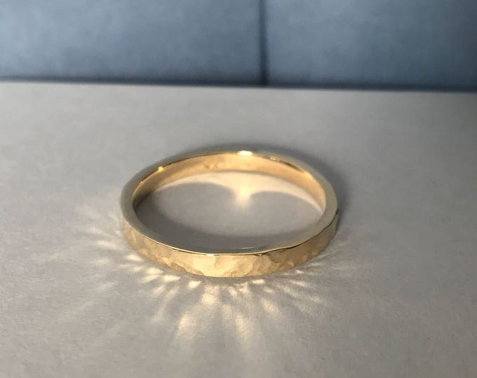 Yellow Gold Hammered Finish Wedding Ring