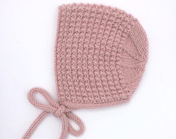 Inga Knitted Baby Bonnet in Pink - Made to Order