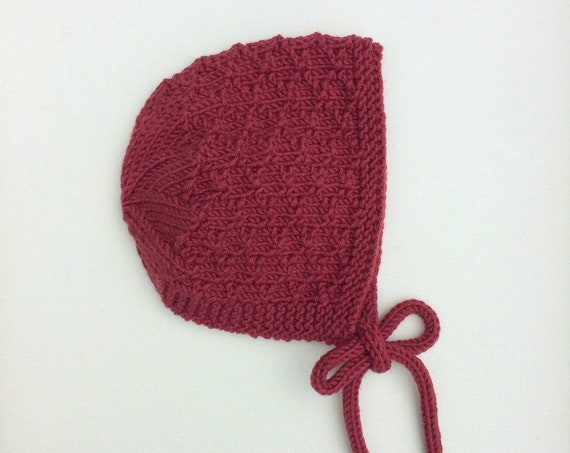 Merino Wool Mossie Bonnet - Cranberry Red - Made to Order