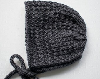 Merino Wool Bracken Bonnet in Charcoal - Size 3-6 months - Ready to Ship