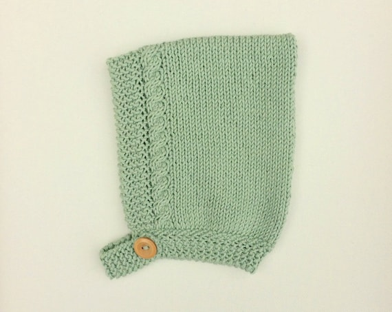 Organic Cotton Cable Pixie Hat in Willow Green- Made to Order