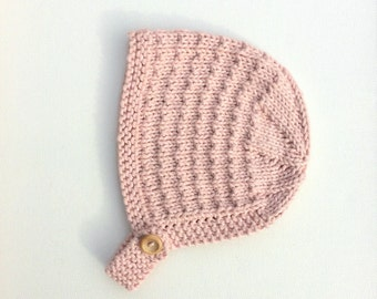 Baby Girl Bonnet, Hand Knitted in Pink Cotton, Summer Hat, Sizes Newborn up to Age 24 months, Newborn Baby Girl Gift