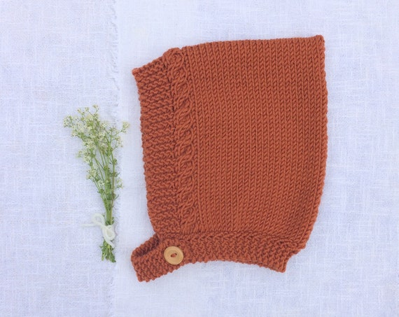 Merino Wool Cable Knit Pixie Hat - Maple
