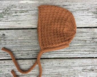 Merino Wool Bracken Bonnet in Toffee  - Made to Order