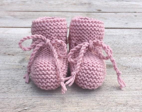 Merino Wool Baby Booties in Rose Pink - Made to Order