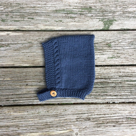 Merino Wool Cable Knit Pixie Hat - Denim Blue