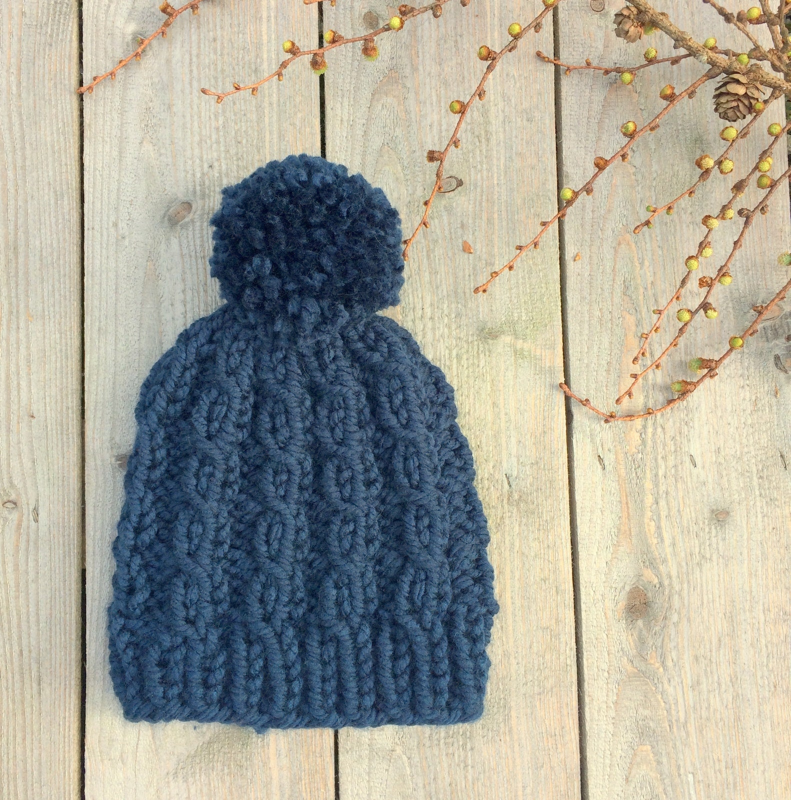 05f33176f44 Women s Chunky Knit Cable Hat with Pompom - Teal Blue - Ready to Ship