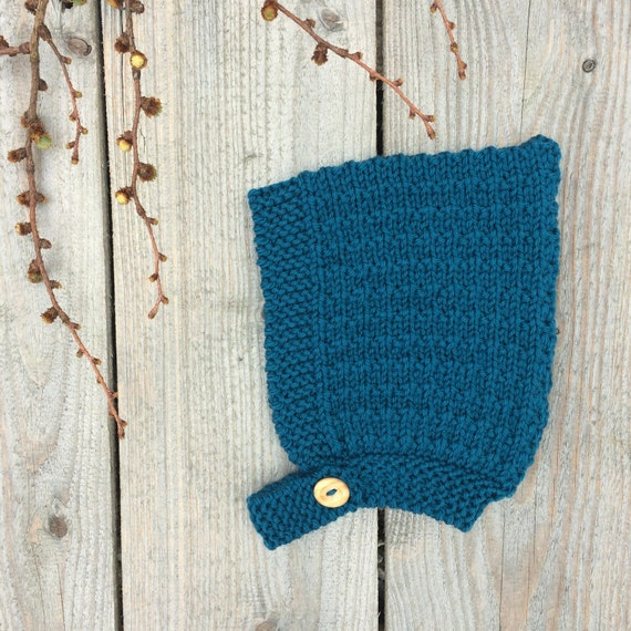 Pine Baby Pixie Hat with Button Fastening - Teal Blue - Made to Order