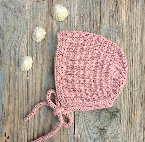 Organic Cotton Bracken Bonnet  - Petal Pink - Size 0-3 months - Ready to Ship
