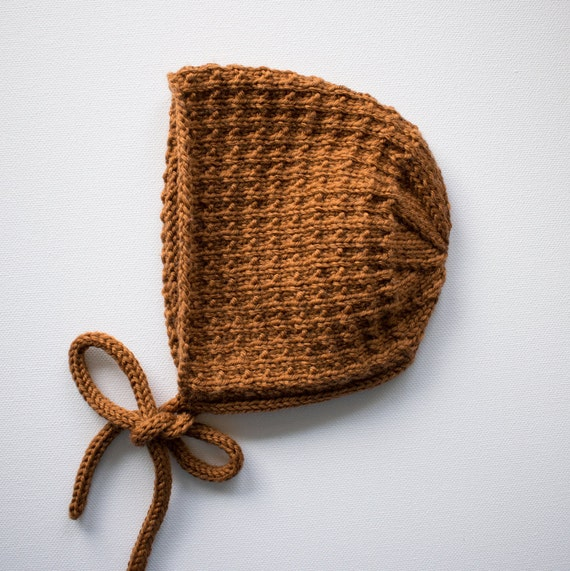 Merino Wool Tibbie Bonnet in Toffee  - Made to Order