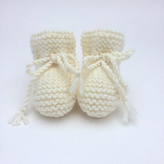 Merino Wool Baby Booties in Cream - Made to Order