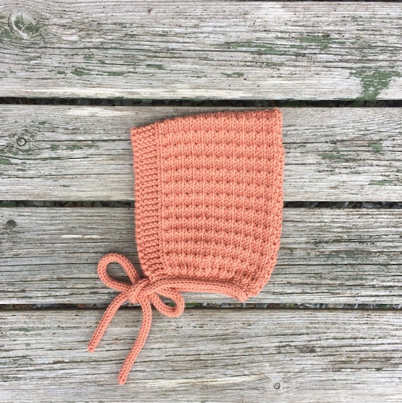 Merino Wool Pine Pixie Hat - Coral - Sizes Newborn to Age 24 months