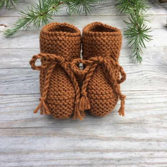 Merino Wool Baby Booties in Toffee - Made to Order