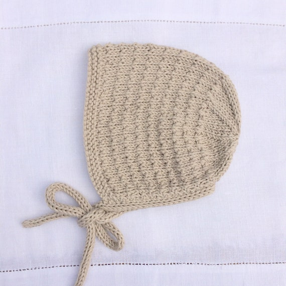 Organic Cotton Tibbie Bonnet  - Sand Beige - Made to Order