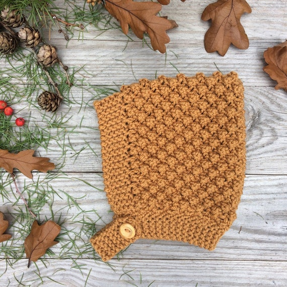 Bobble Knit Pixie Hat - Mustard - Made to Order
