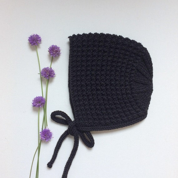 Inga Baby Bonnet in Black Merino/Silk/Cashmere Wool - Made to Order