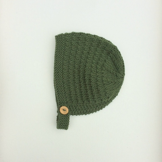 Merino Wool Tibbie Bonnet - Moss Green - Made to Order
