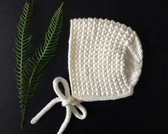 Inga Baby Bonnet in Cream Merino/Silk/Cashmere Wool - Made to Order