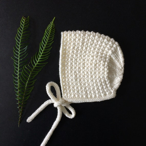 Inga Baby Bonnet in Cream Merino/Silk/Cashmere Wool - Made to Order