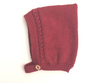 Baby Cashmerino Cable Knit Pixie Bonnet in Red - Size 3-6 months