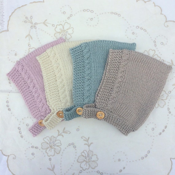Cable Knit Pixie Bonnet in Merino/Silk/Cashmere Wool - Made to Order - 5 Sizes and 4 Colours