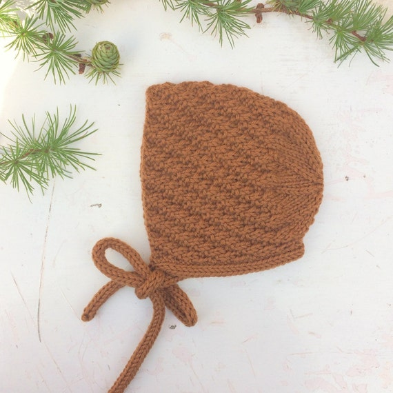 Corran Baby Bonnet - Toffee - Made to Order Sizes Newborn to Age 24 months