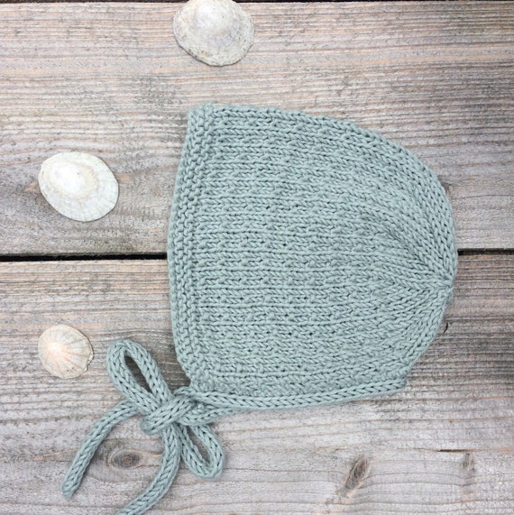 Organic Cotton Tibbie Bonnet  - Duck Egg Blue - Size 0-3 months - Ready to Ship