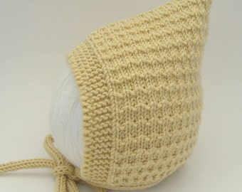 Merino/Silk/Cashmere Pine Pixie Hat in Butter - Size 3-6 months - Ready to Ship