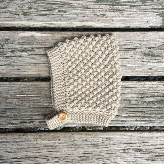 Bobble Knit Pixie Hat - Almond - Made to Order