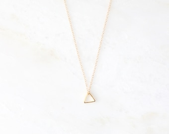 VERB Triangle Necklace. Brass Necklace. Everyday necklace. Layer Necklace. Christian Minimal Necklace. Unique Necklace. Romans 12:12