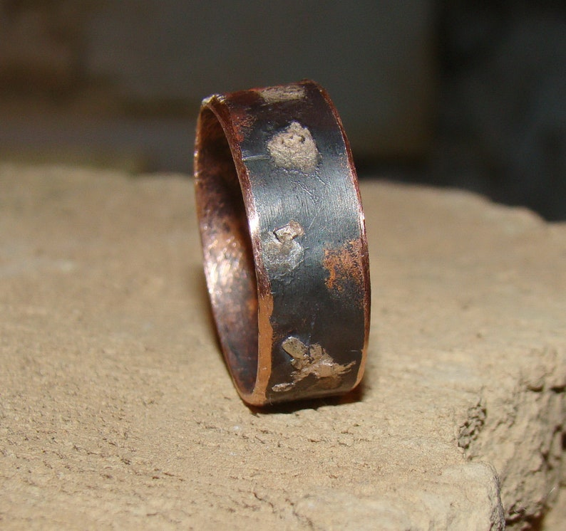 Handmade mens ring band men engagement custom ring Christmas Gift idea for him silver copper rustic ring men/'s ring