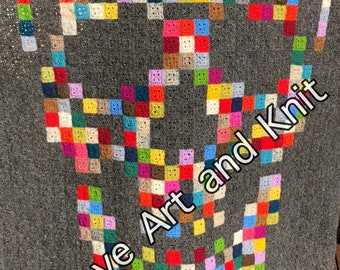 Blanket, afghan, throw, Icelandic wool, wool, lopi, gothic, skull,  cottage, summerhouse, crochet blanket, teenager, ready to ship