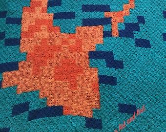 Blanket, afghan, throw, Icelandic wool, koi fish