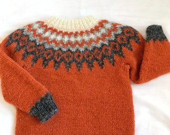 Icelandic sweater, lopapeysa, unisex children clothing