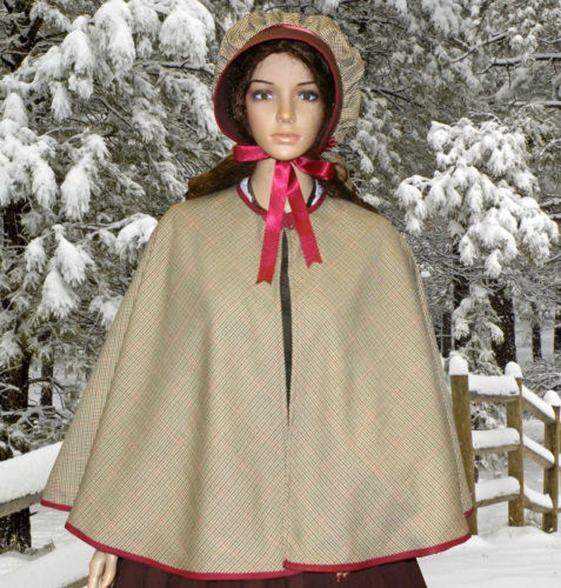 Victorian Clothing, Costumes & 1800s Fashion Ladies Victorian Dickensian Carol Singer Costume Cape & Bonnet $47.24 AT vintagedancer.com