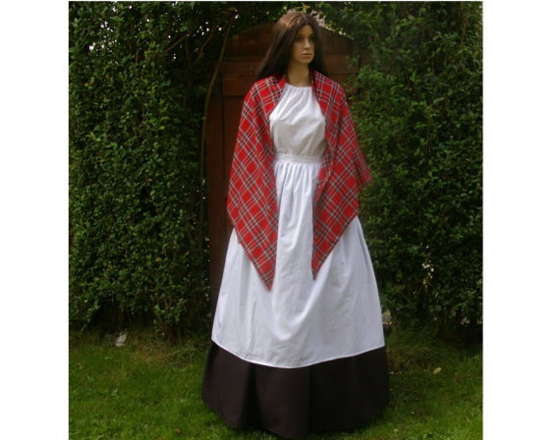 Victorian Clothing, Costumes & 1800s Fashion Victorian mill worker 4pc costume Royal Stewart shawl $79.52 AT vintagedancer.com