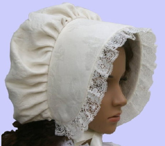 Ladies Victorian American Civil War costume fancy dress bonnet red and white