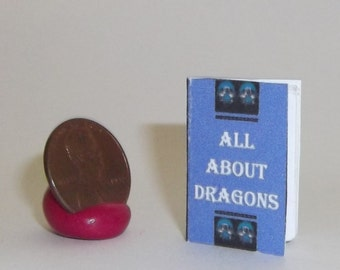 Miniature Dollhouse Book All About Dragons w/ Blank Pages Shelf Halloween #7454