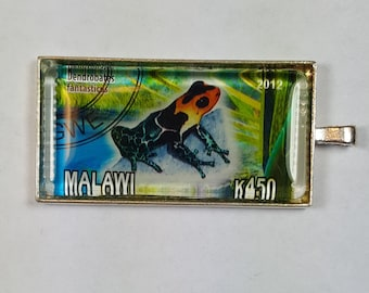 Frog Red Headed Poison Dart Frog Deadly Malawi Africa Postage Stamp Pendant or Key Ring