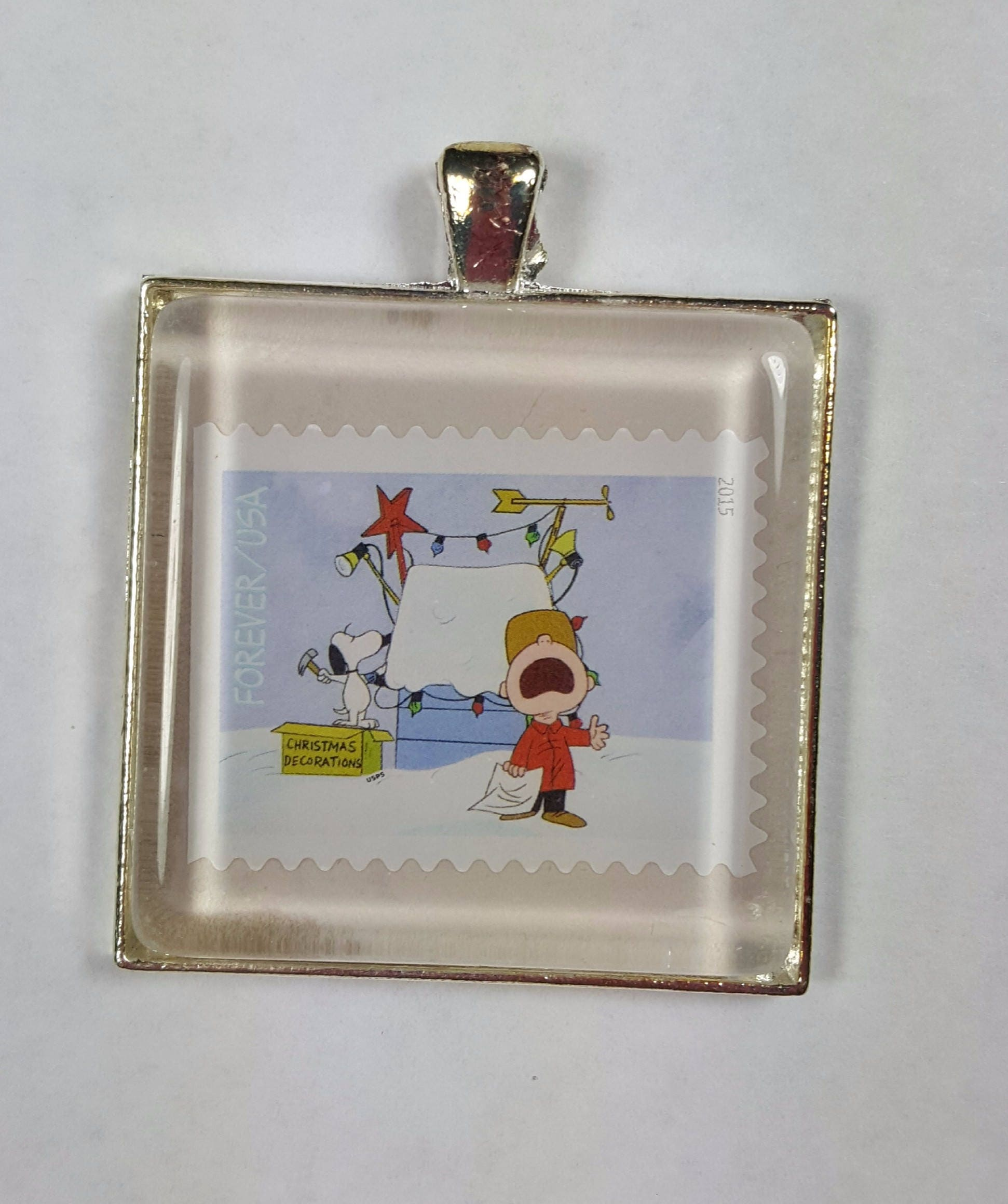 """Peanuts Christmas Ornament 2"""" Silver Toned Metal Snoopy Doghouse Mom"""