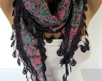 Purple Scarf ,women scarves - guipure -  fashion scarf - gift scarves -Shawl- Fashion Shawls
