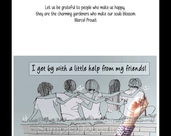 """Greeting Cards -  Friendship quote """"I Get By With a Little Help From My Friends"""" for girlfriends"""
