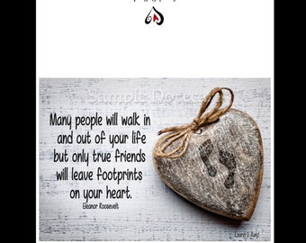 """Greeting Cards - Eleanor Roosevelt Inspirational quote """"Many People Walk In and Out of Your Life..."""" Friendship Quote"""
