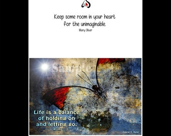 """Greeting Cards -  Rumi Quote """"Life is a Balance of Holding On and Letting Go"""" Inspirational Words for Friend"""