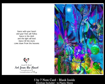 """Greeting Card - Dancing in the Dark!  Quote art to celebrate love.  """"Dance with your heart and your feet will follow..."""" Anniversary Card"""