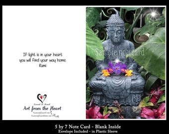 """Greeting Card /Buddha's Light/ Rumi Quote """"If Light is in Your Heart You Will Find Your Way Home"""" /Friendship card/Encouragement Card"""